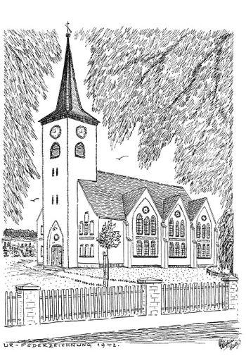 Abb. 18: Die »neue« Kirche von Lüdelsen. Federzeichung von 1942.