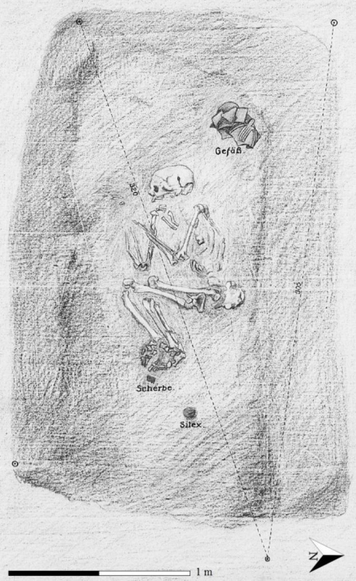 Abb. 4: Stelle XII – Grab der Baalberger Kultur. Ortsakte Rössen, OA-ID 2011, Blatt 50. © Landesamt für Denkmalpflege und Archäologie Sachsen-Anhalt, Archiv.
