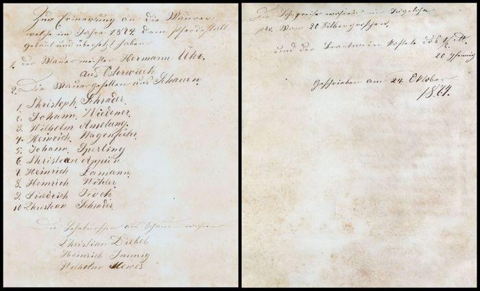 Abb 15: Der handgeschriebene Text der vollständigen Flasche datiert auf den 24. Oktober 1874. Offenbar wurde diese Banderole nach späteren Maurerarbeiten hinterlegt. Aus dem Text gehen die beteiligten Maurer, der Lohn und der Brandweinpreis hervor. Abb. 14: In dem handgeschriebenen Text aus der zerbrochenen Flasche berichtet Julius Grote von der Grundsteinlegung für den Pferdestall am 26. März 1856, dem Richtfest am 16. Juni 1856 und den Tag des Einmauerns der Flasche am 4. Juli 1856. Außerdem werden anwesende Familienmitglieder, Handwerker sowie weitere Personen genannt. ©  Landesamt für Denkmalpflege und Archäologie Sachsen-Anhalt, Heiko Breuer.