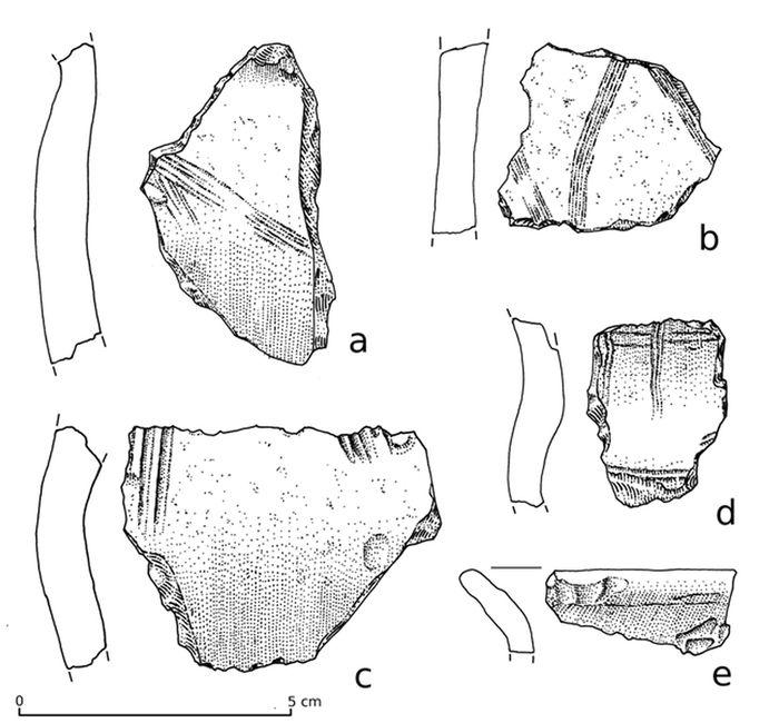 Abb. 6: Slawische Keramik des Menkendorfer Typs in Hausbefund 8 datiert die Fibel in das 9./ 10. Jahrhundert. Maßstab 1:1.  © Landesamt für Denkmalpflege und Archäologie Sachsen-Anhalt, Ottilie Blum.