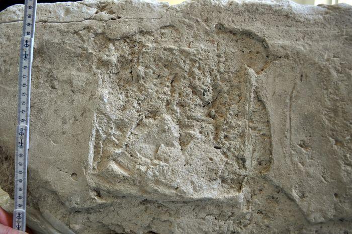 Abb. 13: Ritzungen und Mörtelreste auf der Oberseite der Stuckwand weisen auf die Position der Säulenarkade hin. © Landesamt für Denkmalpflege und Archäologie Sachsen-Anhalt,  Corinna Scherf.