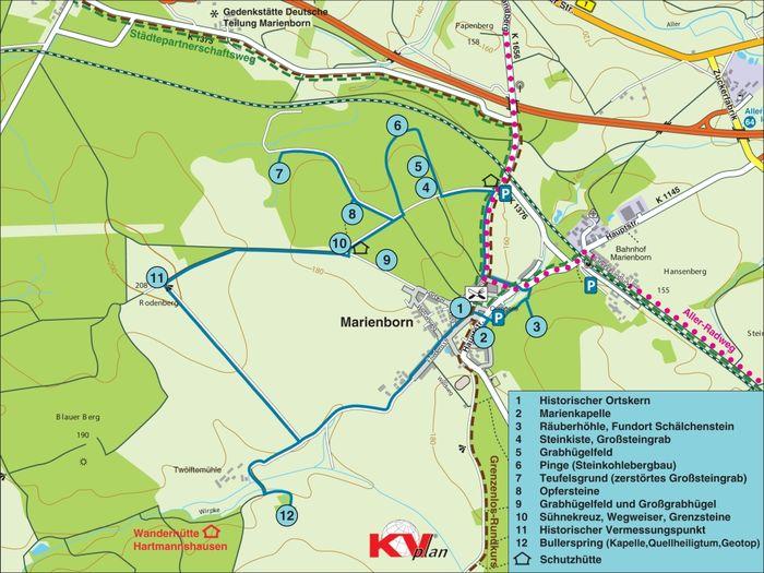 Abb. 1: Die Route. © Landesamt für Denkmalpflege und Archäologie Sachsen-Anhalt, Brigitte Parsche, auf Grundlage einer Karte vom Kommunalverlag Tacken e.K.