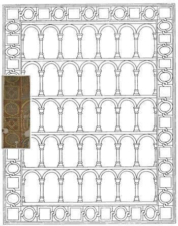Abb. 3: Mögliche Rekonstruktion des gesamten Teppichs auf Grundlage der erhaltenen Bahn.  © Landesamt für Denkmalpflege und Archäologie Sachsen-Anhalt, Gunnar Preuß.