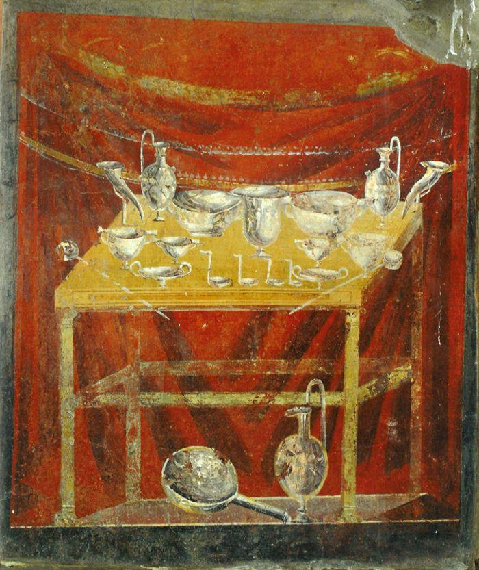 Abb. 7: Wandmalerei aus dem Grab des C. Vestorius Priscus in Pompeji mit Gefäßen und Zubehör für Gelage. Meller/Dickmann 2011, 321, Abb. 5.