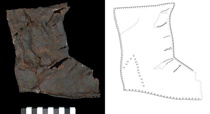 Abb. 3: Innenseite des halleschen Schuhs, Zeichnung mit schematisierten Nähten. © Landesamt für Denkmalpflege und Archäologie Sachsen-Anhalt, Heiko Breuer.