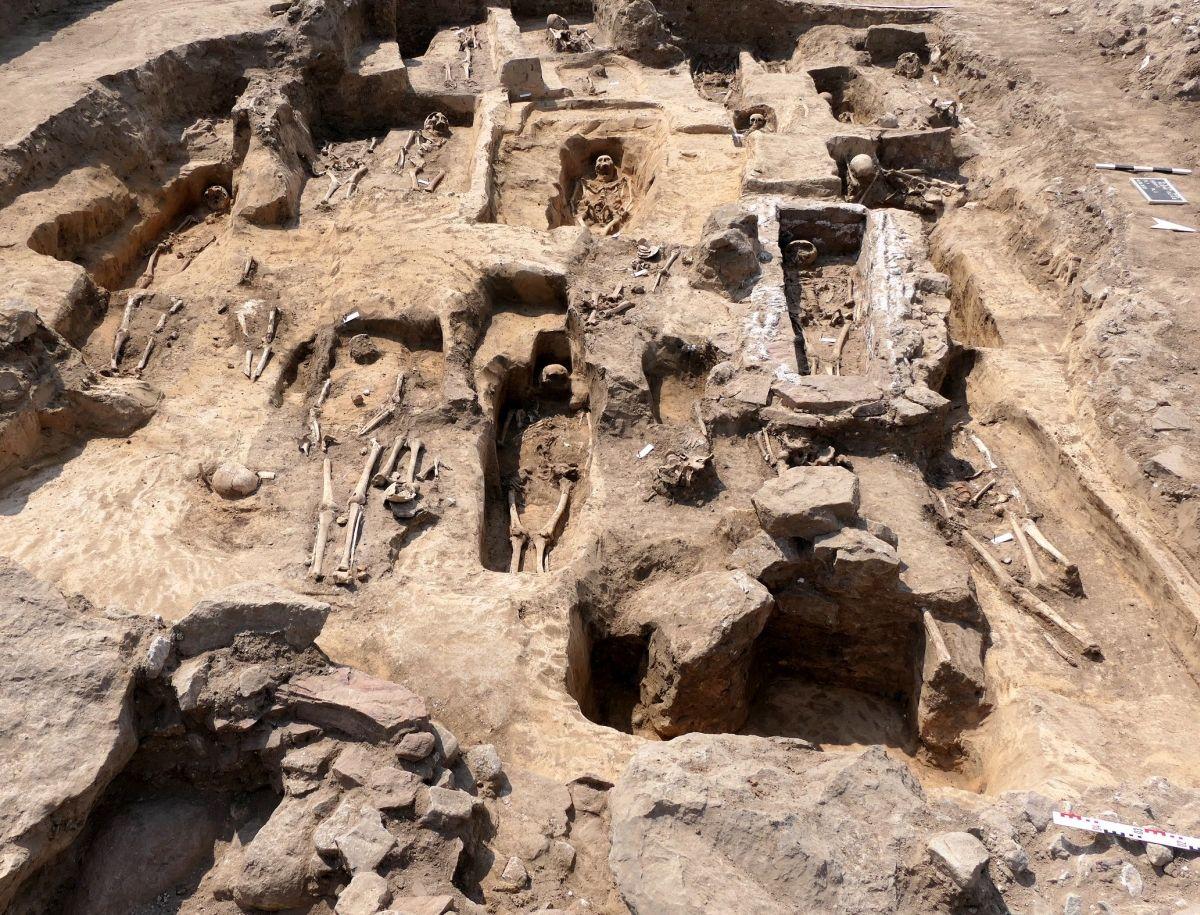 Abb. 2: Bestattungen außerhalb der Kirche, vorn im Bild die Fundamente des südlichen Querhauses. © Landesamt für Denkmalpflege und Archäologie Sachsen-Anhalt, Felix Biermann.