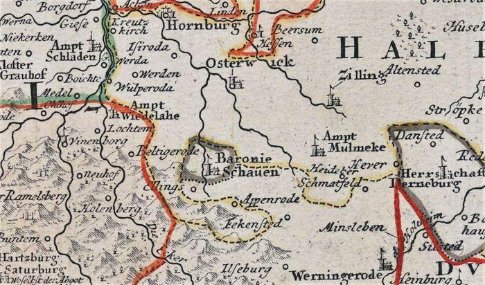 Abb. 4: Die autarke Lage der Baronie / Reichsfreiherrschaft Schauen ist gut auf einem Ausschnitt einer Karte des Herzogtums Braunschweig zu erkennen. © Landesarchiv NRW.