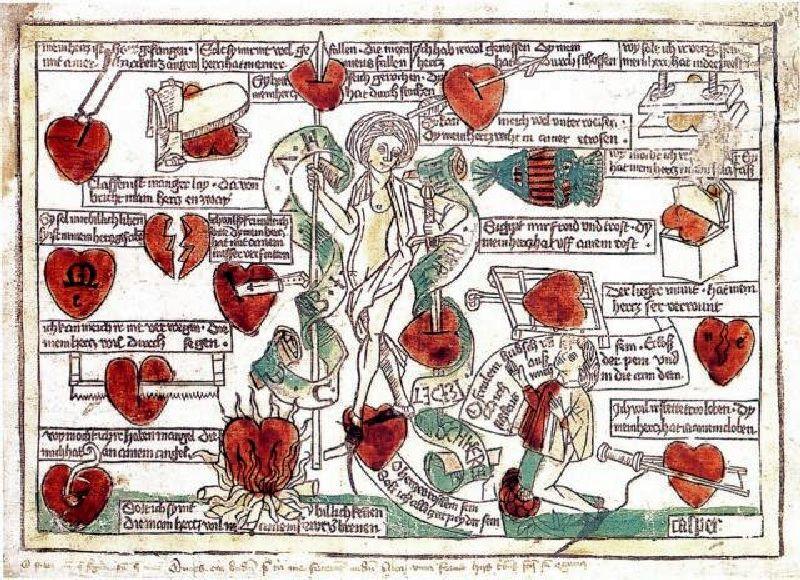 Abb. 11: Meister Casper von Regensburg:Frau Venus und der Verliebte, um 1485, kolorierter Einblattholzschnitt, Kupferstichkabinett – Staatliche Museen zu Berlin, Preußischer Kulturbesitz, Bildnummer: AKG31376.