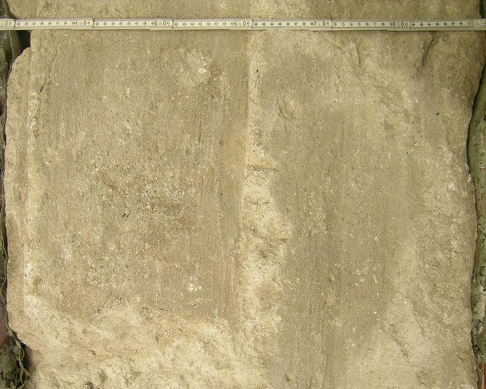 Abb. 11: Abdrücke von Verschalungsbrettern auf der Rückseite der Stuckwand. © Landesamt für Denkmalpflege und Archäologie Sachsen-Anhalt, Corinna Scherf.