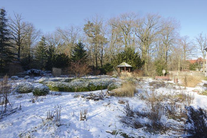 Abb. 2: Blick auf den idyllisch verschneiten Landschaftspark. © Landesamt für Denkmalpflege und Archäologie Sachsen-Anhalt, Gunnar Preuß.