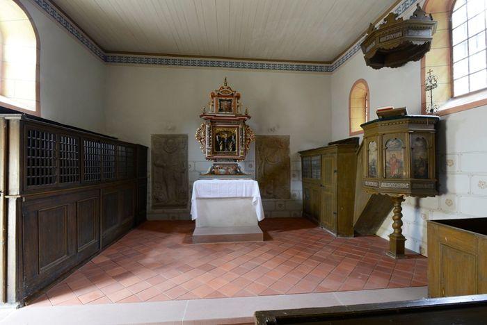 Abb. 2: Barocke Kanzel in der im Kern romanischen Kirche. © Landesamt für Denkmalpflege und Archäologie Sachsen-Anhalt, Gunnar Preuß.