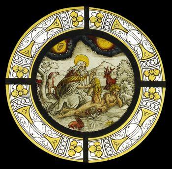 Abb. 1: Glasscheibe mit farbiger Darstellung des sacramentum magnum.  © Landesamt für Denkmalpflege und Archäologie Sachsen-Anhalt, Gunnar Preuß.