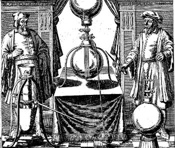 Abb. 4: Guericke und Mitarbeiter mit einigen ihrer Vakuumapparaturen. Otto von Guericke: »Ottonis de Guericke Experimenta Nova (ut vocantur) Magdeburgica De Vacuuo Spatio«, Amsterdam 1772.