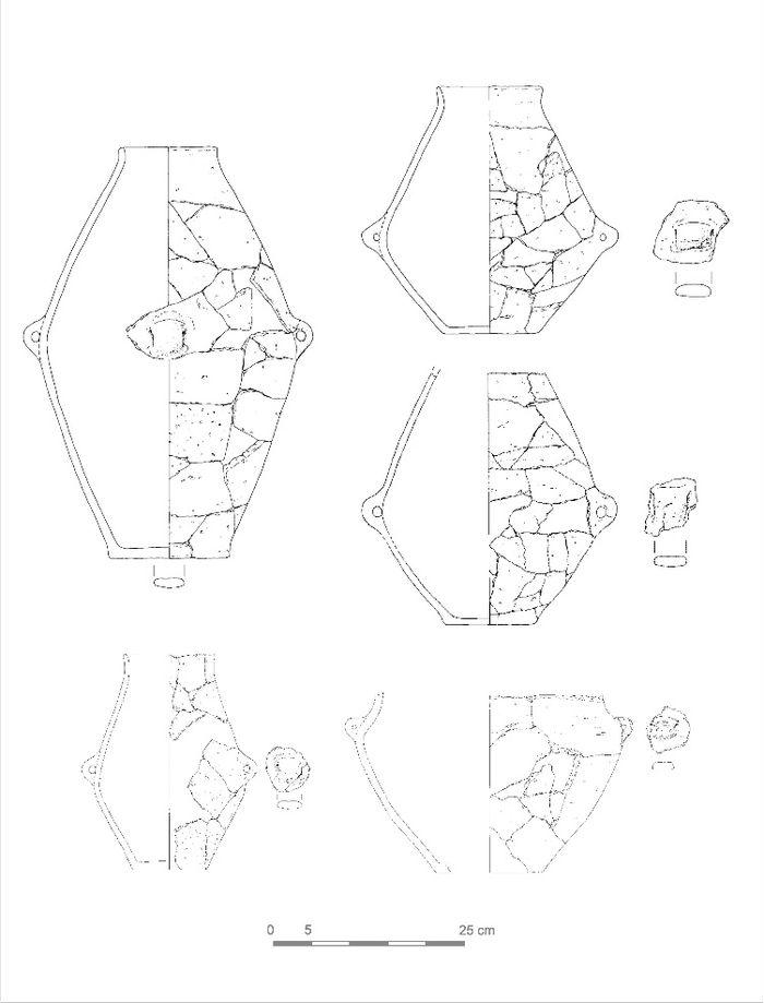Abb. 5: Libehna, Fundstelle 8. Amphoren aus Befund 2030. © Landesamt für Denkmalpflege und Archäologie Sachsen-Anhalt, Zeichnung: Melanie Reuter, Zusammenstellung: Andrea Hinz.