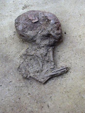 Abb. 2: Die Säuglingsbestattung im Niveau der Skelettreste. © Landesamt für Denkmalpflege und Archäologie Sachsen-Anhalt, C. Steinmann.