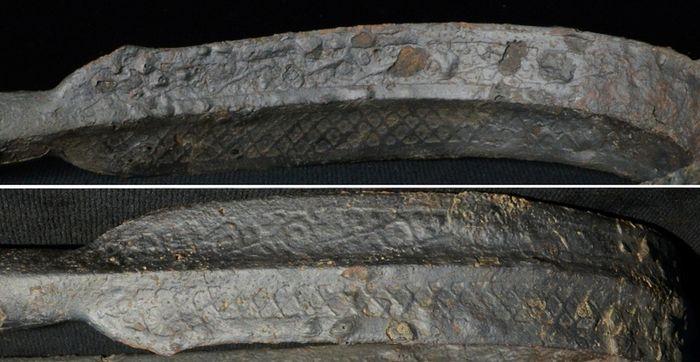 Abb. 14: Gegenüberstellung der geometrischen Muster auf der Vorder- und Rückseite. © Landesamt für Denkmalpflege und Archäologie Sachsen-Anhalt, Vera Keil.