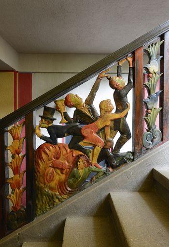 Abb. 2: Detail im unteren Treppenabschnitt der südlichen Treppe. © Landesamt für Denkmalpflege und Archäologie Sachsen-Anhalt, Gunnar Preuß.