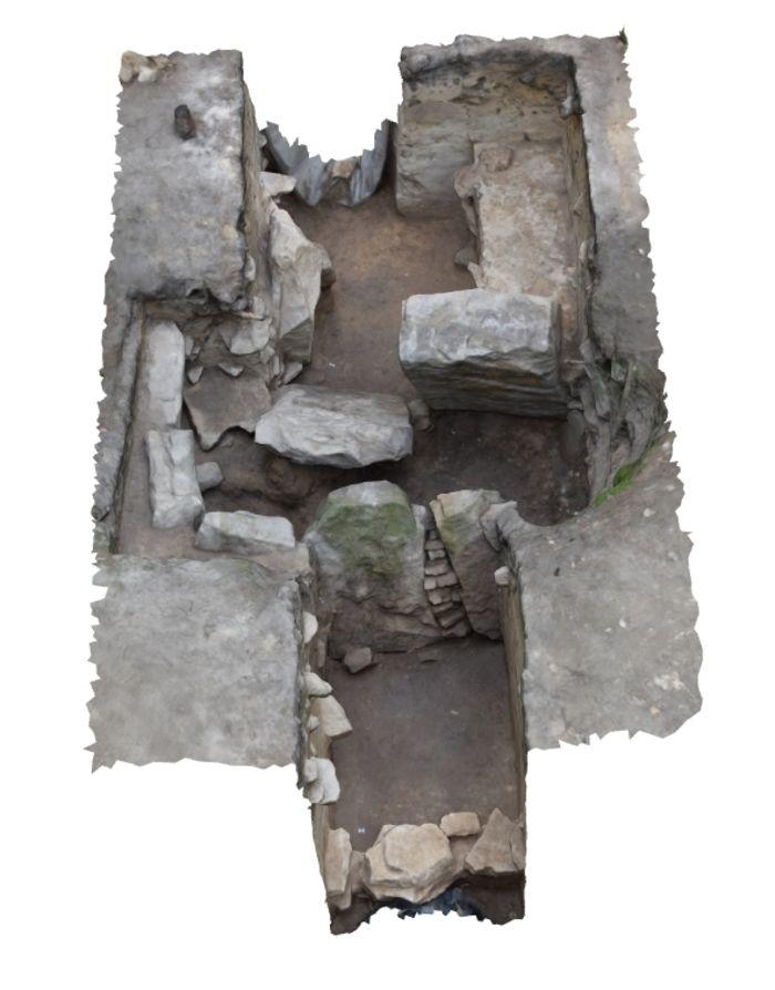 Abb. 15: 3D-Dokumentation der Grabkammer. © Landesamt für Denkmalpflege und Archäologie Sachsen-Anhalt, Heiko Heilmann, Olaf Schröder.