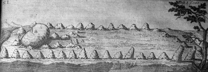 Abb. 9: Das Großsteingrab von Beesewege. Bekmann/Bekmann 1751.