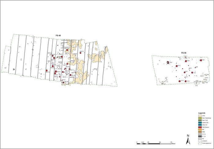 Abb. 2: Grabungsplan der mittelslawischen Siedlungen Fundstelle 48 (links) und 49 (rechts) südöstlich von Köthen (Landkreis Anhalt-Bitterfeld). © Landesamt für Denkmalpflege und Archäologie Sachsen-Anhalt, A. Hinz.