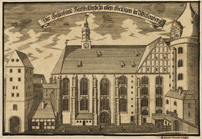 Abb. 13: Ansicht der Wittenberger Schlosskirche von J.G. Schreiber (1717). © Deutsche Fotothek.