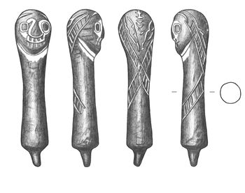 Abb. 2: Umzeichnung des Bronzeköpfchens aus Siegersleben. Maßstab 2 zu 1. © Landesamt für Denkmalpflege und Archäologie Sachsen-Anhalt,  M. Wiegmann.