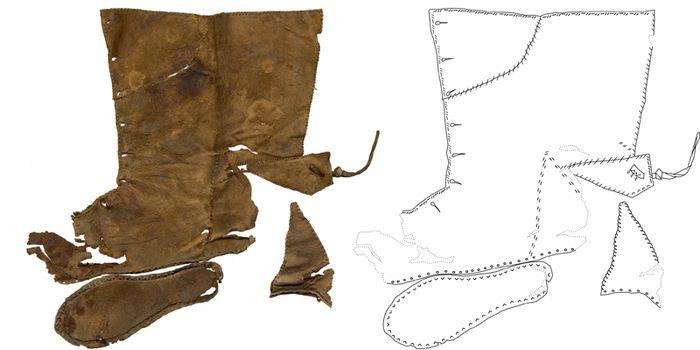 Abb. 4: Innenseite des Salzwedler Schuhs, Zeichnung mit schematisierten Nähten. © Landesamt für Denkmalpflege und Archäologie Sachsen-Anhalt, Heiko Breuer.