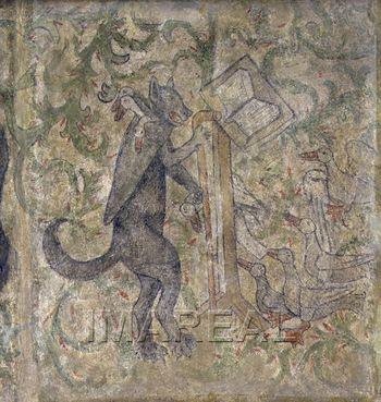 Abb. 5: Der Fuchs predigt den Gänsen; Seccomalerei aus dem ehemaligen Pfarrhaus von Zvolen; Bratislava, 1452–1470. via Wikimedia Commons
