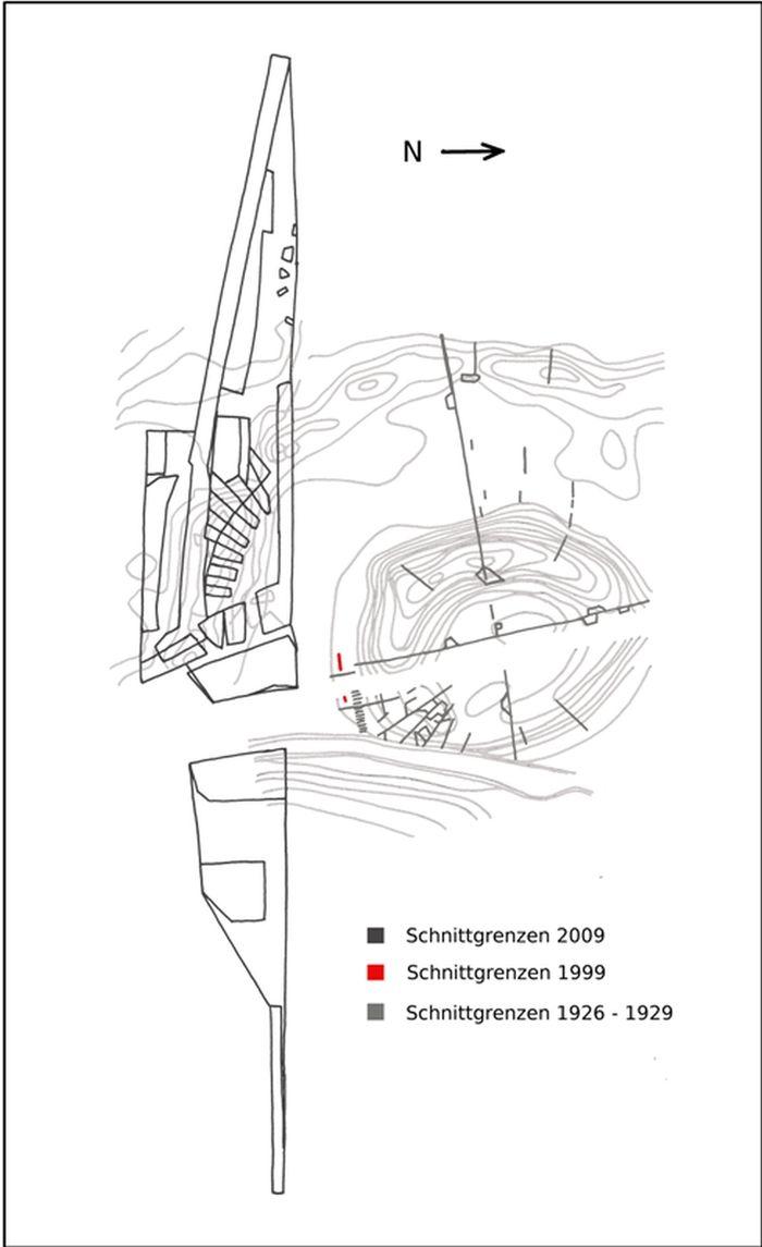 Abb. 3: Grabungsarbeiten während der Kabelverlegung auf den Areal der Hildagsburg 1999. © Landesamt für Denkmalpflege und Archäologie Sachsen-Anhalt.