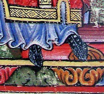 Abb. 4: Buchmalerei um 1200 mit bemalten Schuhen. Von Joadl - Eigenes Werk, CC BY-SA 3.0, https://commons.wikimedia.org/w/index.php?curid=5775714 (13.07.2021).