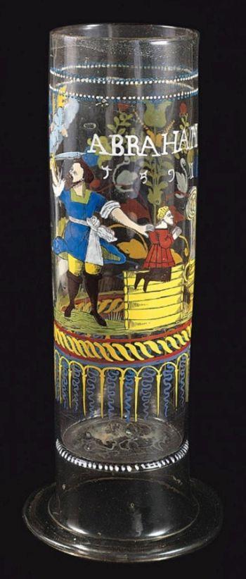 Abb. 3: Darstellung von Isaaks Opfer auf dem Wiener Stangenglas. © Kunsthistorisches Museum Wien, Kunstkammer, Inventar-Nr. 10238.