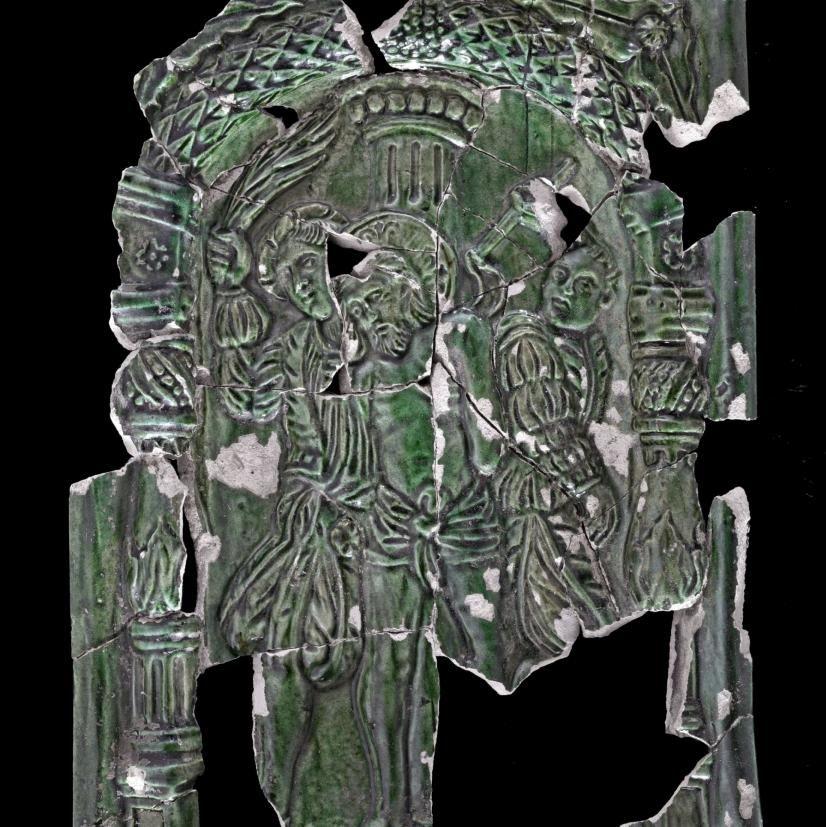 Berman-Kachel mit Szene aus der Passionsgeschichte: die Geißelung Christi. © Landesamt für Denkmalpflege und Archäologie Sachsen-Anhalt, Andrea Hörentrup.