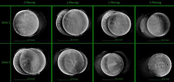 Abb. 7: vier Münzen: Bilder von der Computertomographie. © Fraunhofer IMWS (Halle/Saale), A. Henkel.
