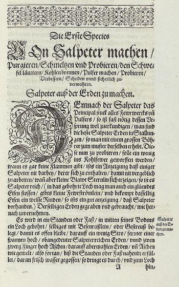 Abb. 8: Kapitel über den Salpeter aus der HALINITRO PYROBOLIA.