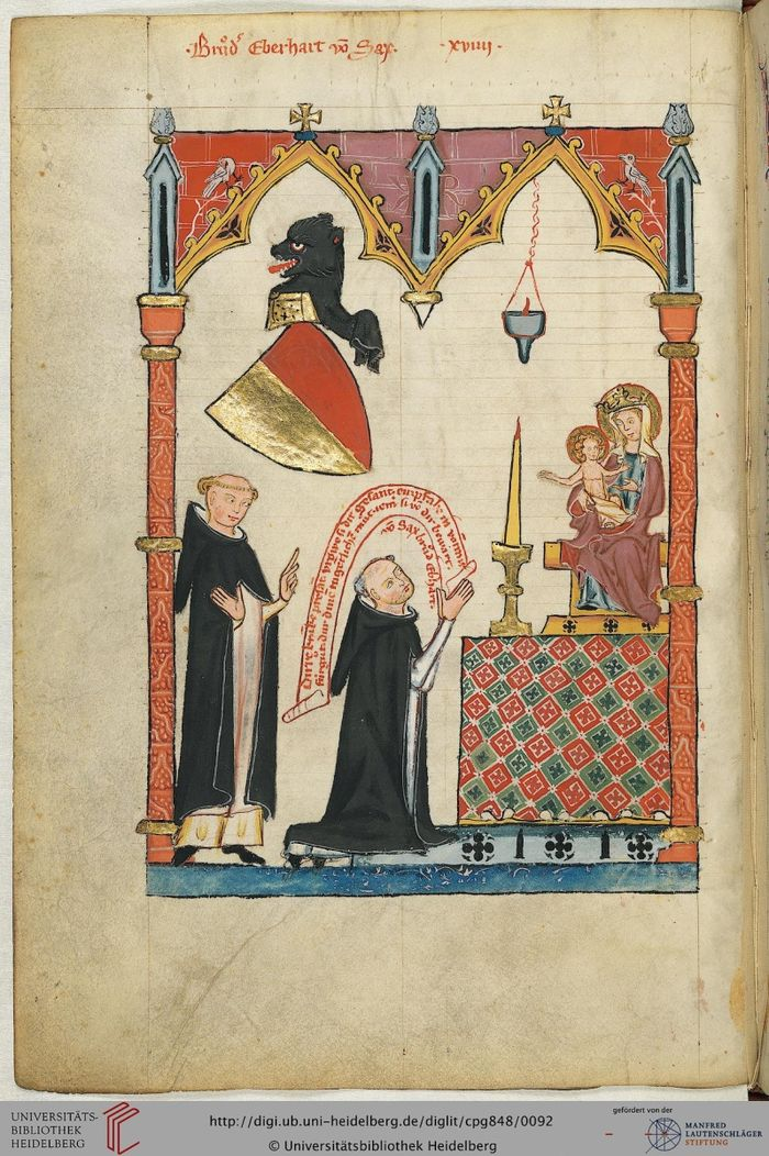 Abb. 6: Aufgehängte Öllampe bei Bruder Eberhard von Sax S. 48v. Große Heidelberger Liederhandschrift (Codex Manesse) 1305 - 1340. © Eberhard von Sax, Codex Manesse; Universitätsbibliothek Heidelberg  http://digi.ub.uni-heidelberg.de/diglit/cpg848/0092.