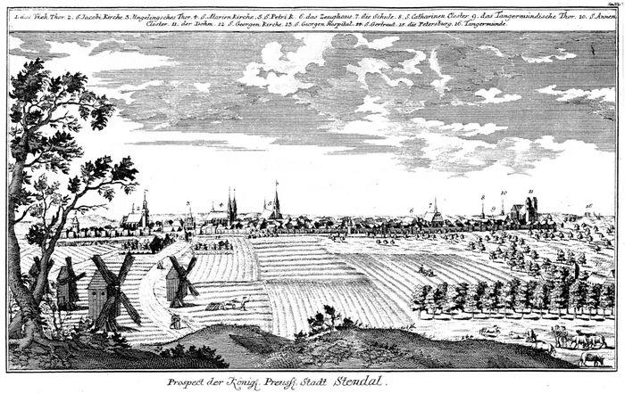 Abb. 3: Das Stadtbild Stendals im 3. Viertel des 18. Jahrhunderts (Radierung 1773); Johann David Schleuen (1711 bis 1774). © Winkelmann-Museum Stendal [CC BY – NC – SA].