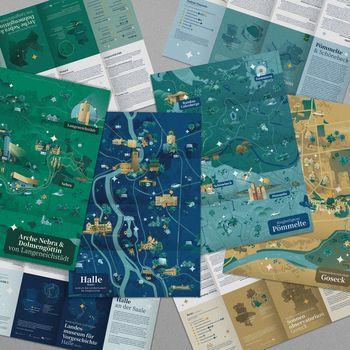 Vier Entdeckerkarten laden zum Erleben der Himmelswege ein. © Landesamt für Denkmalpflege und Archäologie Sachsen-Anhalt.