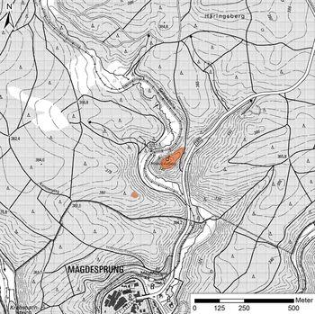 Abb. 2: Topographische Karte 1:10.000 mit der eingezeichneten Heinrichsburg und der ihr südwestlich gegenüberliegenden Schanze. © LVermGeo Sachsen-Anhalt