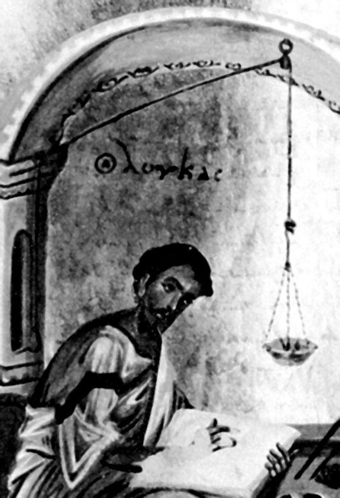 Abb. 8: Ältester Nachweis einer Schreibtischlampe: der Apostel Lukas schreibt beim Licht einer Glasschalenlampe. Byzantinische Handschrift, 9. Jhdt, British Museum (Ausschnitt). Wunderlich 2003, 261.