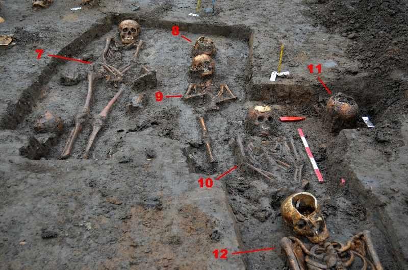 Abb. 2: Die Bestattungen waren mehrschichtig übereinander niedergelegt. © Landesamt für Denkmalpflege und Archäologie Sachsen-Anhalt, Jörg Frase.