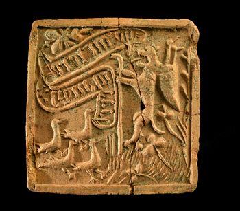 Abb. 3: Das Bildmotiv der Ofenkachel aus Freyburg. © Landesamt für Denkmalpflege und Archäologie Sachsen-Anhalt, Andrea Hörentrup.