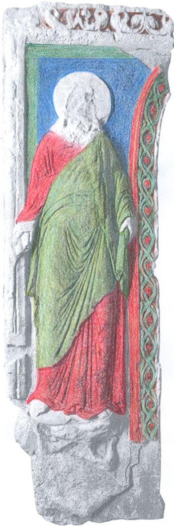 Abb. 16: Farbige Teilrekonstruktion der Stuckwand anhand von Befunden und Analogieschlüssen. © Landesamt für Denkmalpflege und Archäologie Sachsen-Anhalt, Corinna Scherf.