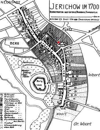Abb. 1:  Von M. Bathe (1961) entworfener Plan Jerichows für die Zeit um 1700; roter Punkt: Fundort des spätmittelalterlichen Töpferofens. Nach Bathe 1961 © Landesamt für Denkmalpflege und Archäologie Sachsen-Anhalt.