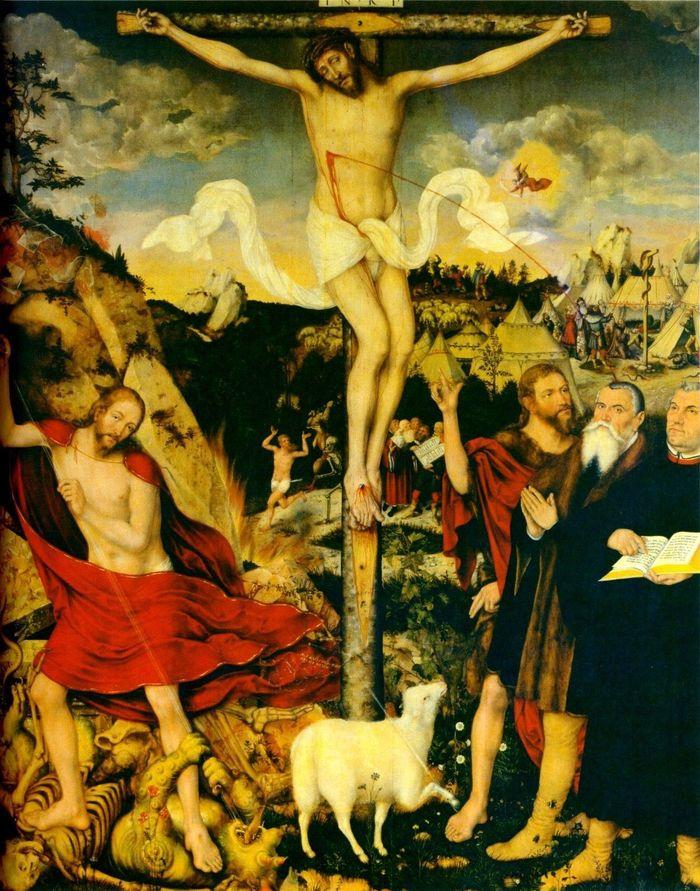"Abb. 4: Stadtkirche in Weimar, Ausschnitt aus Cranachs Altargemälde ""Christus am Kreuz"" (1552-1555). © Lucas Cranach the Younger, Public domain, via Wikimedia Commons."