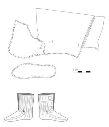 Abb. 2: Umzeichnung der Rückseite und Rekonstruktion des Erscheinungsbildes. Nahtschema nach Goubitz 2001, 37; © Landesamt für Denkmalpflege und Archäologie Sachsen-Anhalt, Heiko Breuer.