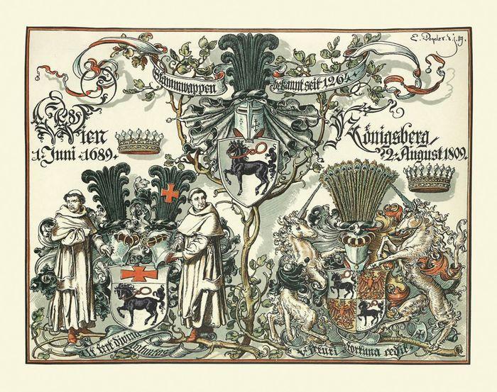 Abb. 3: Übersicht über die Wappen des gräflichen und freiherrlichen Geschlechts der Grotes bis zu dem Jahr 1889, E. v. Grote/ W. Grotefend (Hrsg.), Geschichte des Gräflich und Freiherrlich Grote'schen Geschlechts (Hannover 1891), Titelei 2, bearbeitet von Katja Mengert.