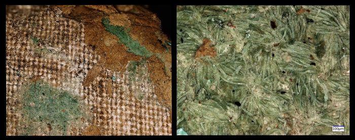 Abb. 9: links: »textiles Gerüst«, rechts: anhaftende Textilfasern am Gerüst. © Landesamt für Denkmalpflege und Archäologie Sachsen-Anhalt, Friederike Hertel.