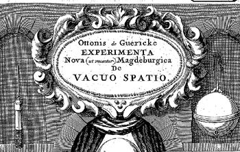 Abb. 3: Titelvignette aus Guerickes Druckschrift von 1672. Otto von Guericke: »Ottonis de Guericke Experimenta Nova (ut vocantur) Magdeburgica De Vacuuo Spatio«, Amsterdam 1772.