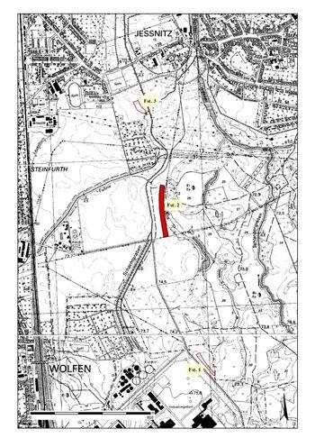 Abb. 1: Die Lage der untersuchten Flächen. Die Fundstelle 2 ist rot gefüllt. © Landesamt für Denkmalpflege und Archäologie Sachsen-Anhalt.