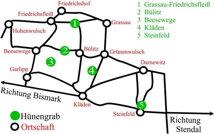 Abb. 5: Die Route des Hünengräber-Rundwegs und die einzelnen Stationen. © Peter Pickelmann.